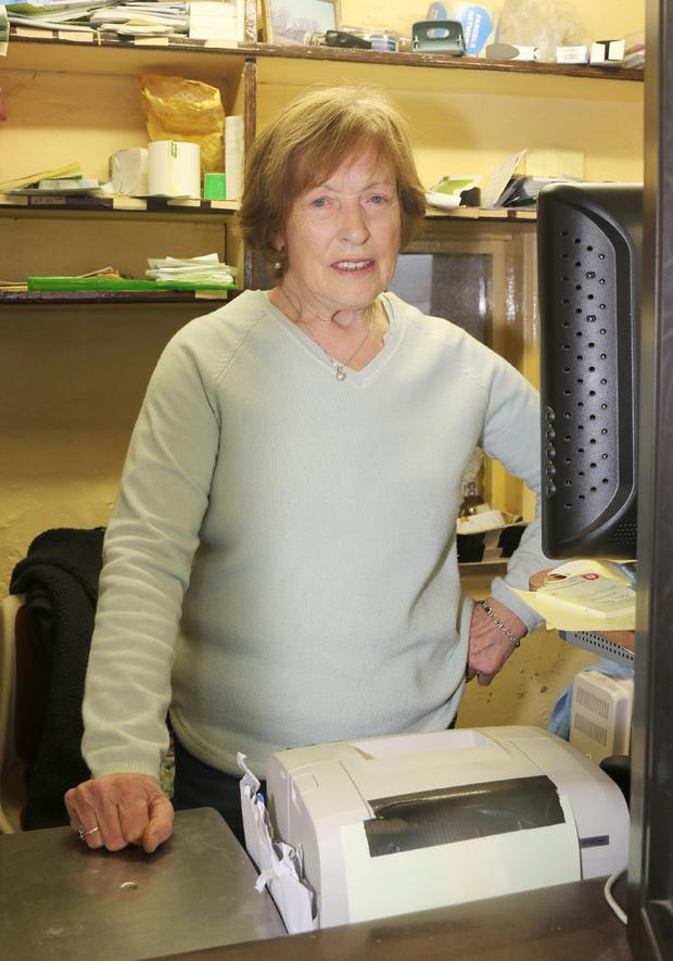 Kiltealy post mistress Mary Long pictured on her last day in Kiltealy Post office on Saturday