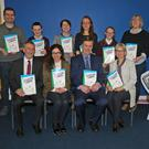 At the Lexicon Literary Launch at Enniscorthy Vocational College were, back row: Brian Stack (teacher), Daniel Kealy (St Senan's PS), Brídín Kelly (teacher), Emma Bolger (teacher), Ria O'Leary (St Aidan's PS) and Majella Stafford (Year Head). Front: Frank Murphy (principal St. Aidan's PS), Oonagh Rackard (principal St Senan's PS), Dr Iain Wickham (principal Enniscorthy Vocational College) and Carmel Donoghue (Dep of Education)