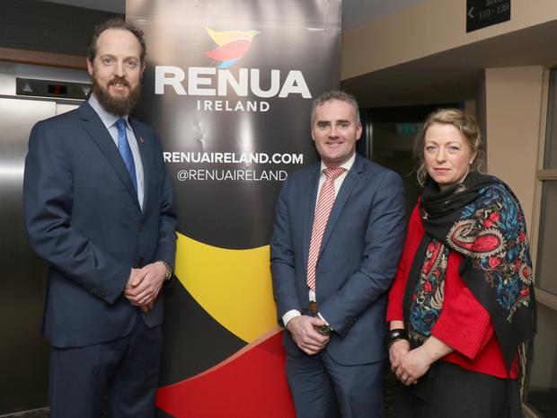 Gerald O'Donoghue with his wife Maura and Renua Party leader John Leahy at the launch of his Local Election campaign in the Riverside Park Hotel on Thursday night