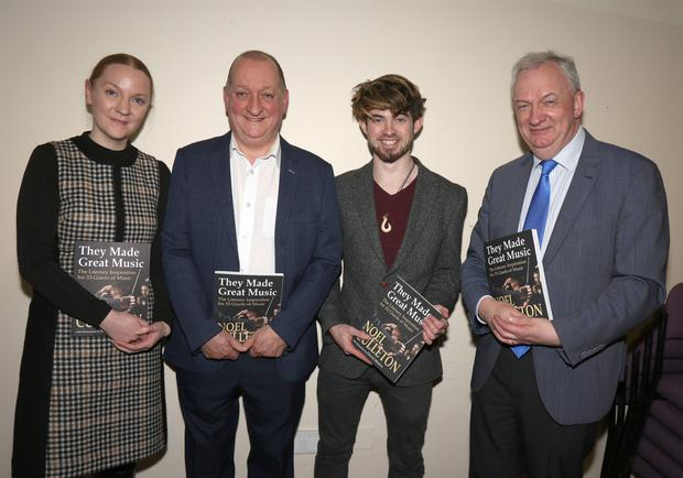 Colette Culleton, Dr Noel Culleton (author), David Mahon (illustrator) and Jarlath Glynn (librarian) at the showcase event for the new book 'They Made Great Music'