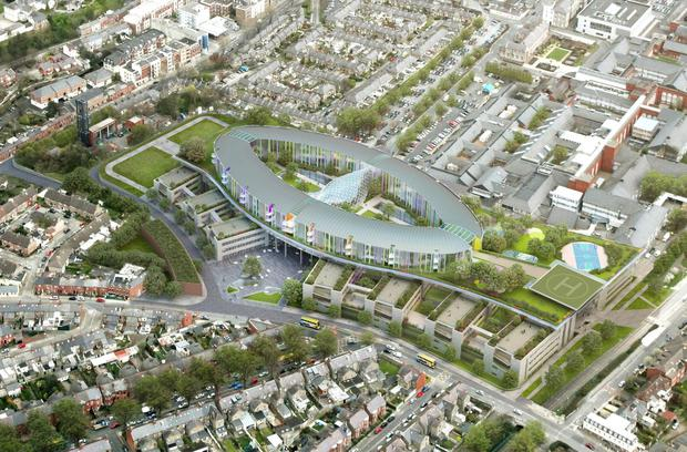 An artist's impression of the new National Children's Hospital to be built beside St James's Hospital in Dublin