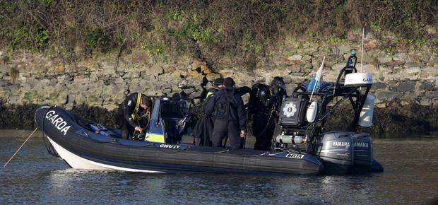 Divers from the Garda Water Unit taking part in the search at Ferrycarrig