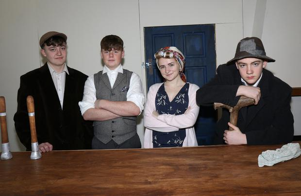 Transition Year students, Jack Kearney (Bird O'Donnell), Regan Treacy (Mick Flanagan), Aine McDonald (Maime Flanagan) and Alex O'Brien (Bull McCabe) from Enniscorthy Vocational College rehearsing for John B Keane's 'The Field' to be staged in the Presentation Centre