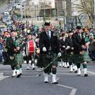 St Coleman's Pipe Band leading the St Patrick's Day parade in Enniscorthy