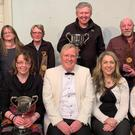 Denis Howell Trustee, Aodh McCay adjudicator and Clara Carter, Festival Secretary as well as representatives from Bridge Drama Group, Wexford Drama Group, Tinahely Variety Group, Kilmuckridge Drama Group, Bunclody/ Kilmyshall Drama Group, Kilrush Drama Group and The Moat Club, Naas who collected awards on behalf of their groups