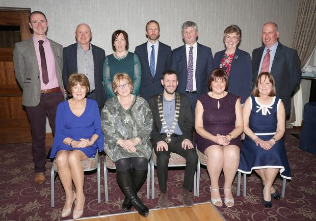At the INTO reception for retireing teachers in the Riverside Park Hotel were, back row: Mark Kelly (branch organisor), Peter Creedon, Lorraine Dempsey (branch chairperson), John Brennan (branch secretary), Joe McKeown (INTO CEC rep.), Marie O'Tiernaigh and Colm O'Tiernaigh). Front: Mary Kelly, Judy Deacon, Fergal Broughan (Dep. President INTO), Kathleen Hooulihane and Eithne McGrath