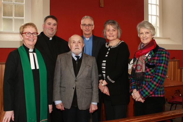 Rev Katherine Kehoe, Fr Dermot Gahan, Cecil Riddall, on the occasion of his final broadcast for the Christian Media Trust; Rev David Nixon, Valerie Power, CMT and Maria Colfer CMT