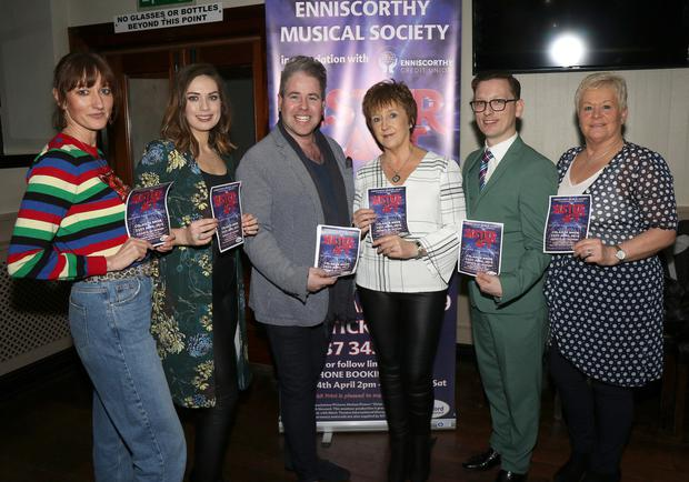 Niamh Hogan, Ashley Doran, Edward Hayden (special guest), Theresa Buckley, James Dobbs and Carmel Monahan at the launch of Enniscorthy Musical Society's upcoming production of 'Sister Act'