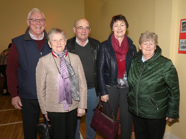 Pat Cousins, Ursula Cousins, Des Gahan, Eileen Nolan and Kit Nolan at the Boolavogue National School photographic exhibition to celebrate moving into the 'new' school 60 years ago, hosted by the Parents' Association