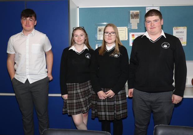 Enniscorthy Vocational College students Ethan Walsh, Saoirse Crofts, Gintare Povilaityte and Stephen McGannon