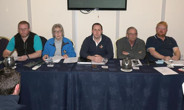 Top table at the Slaney Search & Rescue AGM in the Riverside Park Hotel (Left-to-right): Wally McKenna, Eileen Mulally, Shane O'Connor (chairman), Pat Casey and Phil Deacon