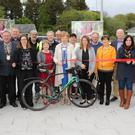 Cllr. Kathleen Codd-Nolan cutting the ribbon at the offiicial opening of new Bunlody Town Park