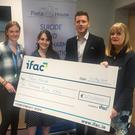 Pictured at the presentation of a cheque for €10,000 to Pieta House were, from left: Cathy Drummond, (fundraising at Pieta House); Niamh Hand (marketing executive at IFAC); Paul Flynn (GPACEO and Ambassador of Pieta House) and Vera O'Rourke (executive assistant to the CEO and Chairman at IFAC)