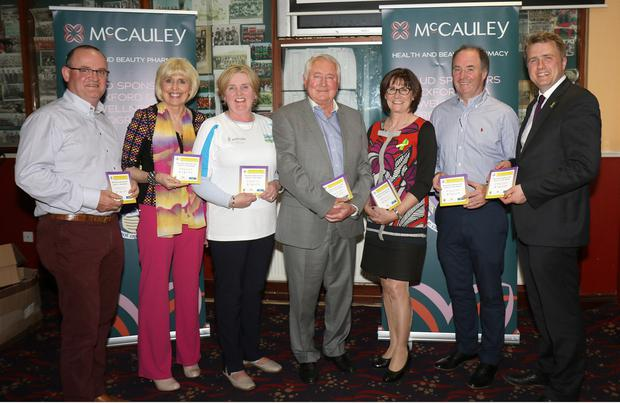 Tony McEntee, CEO McCauley Chemists; Maria Nolan, Health & Wellbeing officer; Mary Doyle, chairperson Co. Health & Wellbeing Committee, Sam McCauley, who performed launch; Catherine Boggan, Mental Health Ireland, Derek Kent, Wexford GAA chairman and James Browne TD at the launch of the Rapparees/Starlights Healthy Club Project booklet in Bellefield GAA Complex