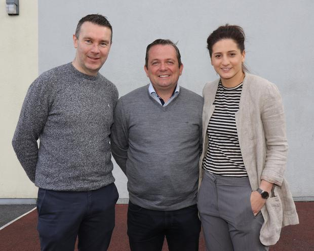 Oisin McConville, Davy Fitzgerald and Mags D'Arcy, special guests at GAA Wellness Week at Enniscorthy Vocational College