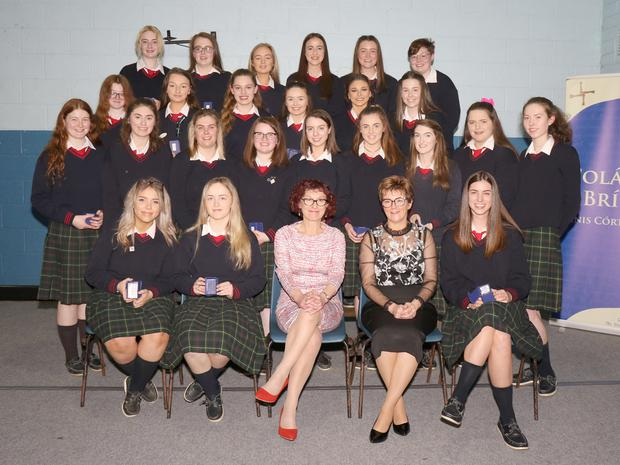 Fifth Year Academic Awards winners with Dr Michelle Millar, guest speaker, and Kiera O'Sullivan, principal