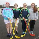 Maeve Byrne, Leah Stanton-Mernagh, Ava Byrne and Ellie Moule-Doyle at the recent sports day at Castledockrell NS