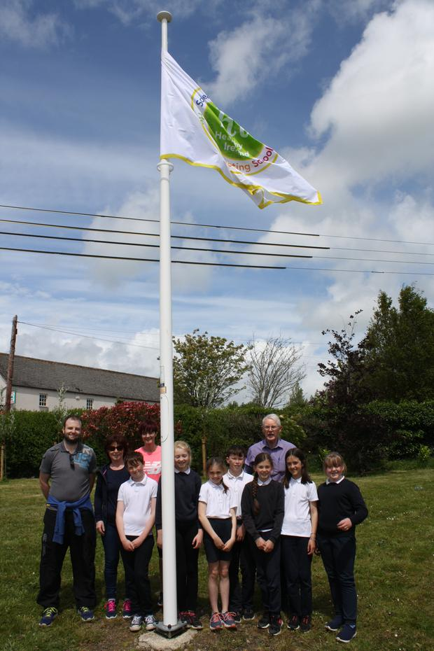 The HPS student committee with Fr Michael Byrne after raising the HPS flag in Bree National School