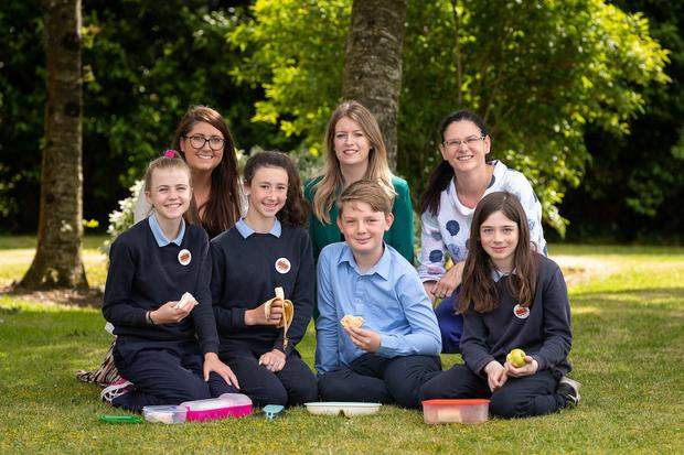 Front row: Aoife Doyle; Laoise Walsh; John O'Neill and Tiernan Tyrrell demonstrating their healthy heroes lunch club; (Back row): Dr Elizabeth Finnegan (Bord Bia); Ailbhe Byrne (Food Drink Ireland /IBBA) and teacher Catherine McCarthy. Pictures Dylan Vaughan