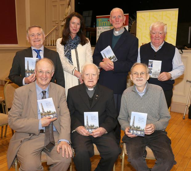 Back: Brendan Howlin, Fionnuala MacAodha, Fr Jim Hamill and Brian Ó Cléirigh. Front: Déaglán De Bréadún, Fr Séamas de Vál and An tAth Frank Ó Brádaigh at the launch of 'Sagairt Chróga Fhearna' by Séamus S. de Vál in the Athenaeum.