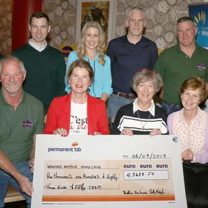 Ferns GPA presenting a cheque for€5683.50 to Wexford Hospice Homecare. Back: Locky Murphy (president FGA), Adrian Sinnott, Linda Christopher, Barry O'Sullivan (secretary), Paddy Murphy (treasurer) and Lorcan Murphy (assistant chairman). Front: Bertie Kehoe (chairman), Mary Walsh and Una Murphy (Wexford Hospice) and Breda Sinnott