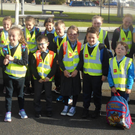 Pupils from Castledockrell National School at the launch of their 'Walk on Wednesday' initiative