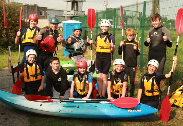 A team of canoeists ready to hit the water with their instructors Tony Connolly and Jayne Arbon during the information day at the Bunclody Adventure Hub