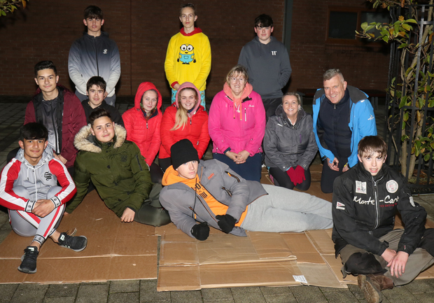Enniscorthy Vocational College 6th year leaving cert applied students pictured on their 'Sleep Out For Homelessness' with teachers, Majella Stafford, Conor Dempsey and Aileen Walsh