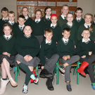 Caim National School fourth class pictured with the Well Being committee at Odd Shoe Day for Mental Health Week