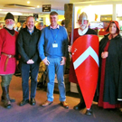 Enniscorthy Historical Re-enactment Society members with Tourism Officer, Billy Byrne, and Director of Archaeology, Denis Shine