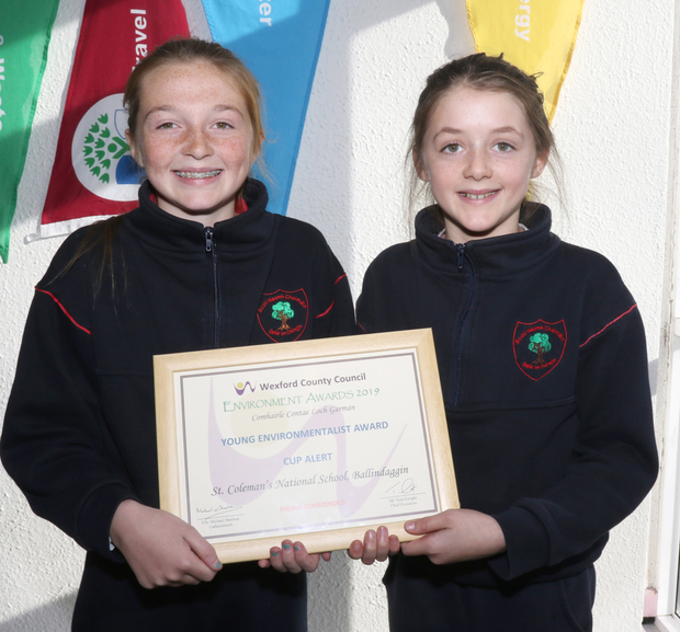 Kaylee Doyle and Heather Bolton-Lee from St Colman's National School, Ballindaggin with their 'Young Environmentalist Award' for their project 'Cup Alert' achieved at the 2019 Wexford County Council Environmental Awards