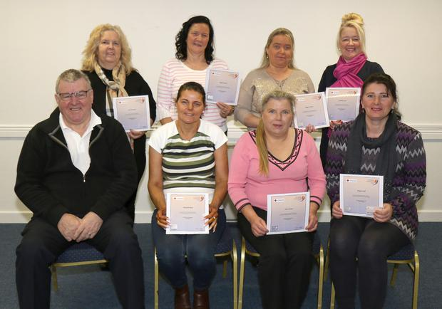 Traveller Community Health Workers who received their Certificates in 'Cardiac First Response Community'. Back: Ann Moorehouse, Brigid Connors, Maggie Connors and Josephine Cash. Front: Paddy Redmond (instructor), Elizebeth Berry, Alice Connors and Bridget Wall. (missing from photo: Ann Connors and Brigid Connors)
