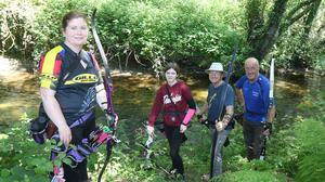 Sharon and Chloe O'Connor (Slaney Archers), Conor Stokes (IFAF) and Colm Griffith (Wicklow Archers) at the Archery Ireland Irish Open 3D Championships at Verona Woods, The Still.