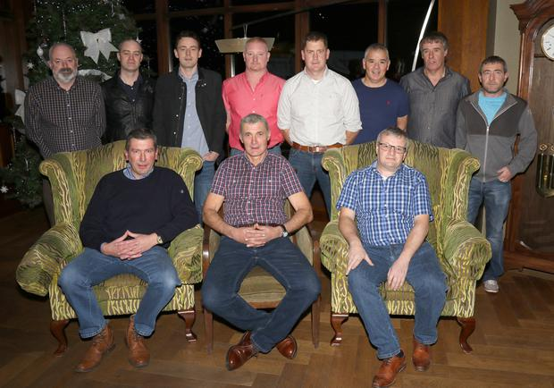 Fireman Tony Black, centre front row, with his colleagues from Bunclody Fire Station at his retirement party in Bunclody Golf Club