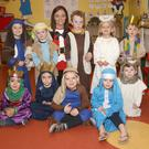 Children from Hazy Days Montessori, Cherryorchard, Enniscorthy at their nativity play with Avril Franklin.
