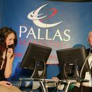 Contestant Chelsea Ward with quizmaster, Paul Mescal.