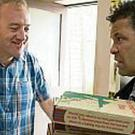Neil Beckett (William Travis), seen here with Lloyd Mullaney (Craig Charles) continues to watch Andrea, he ups his nuisance campaign by sending her a barrage of texts and ordering a stack of pizzas to the cab office.