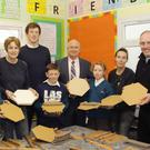 Artists in the making, Dylan Hudson and Alison Berry pictured with, back, co-ordinator, Aileen Lambert, artist, Eileen Mac Donagh, class teacher, John Ryan, school principal, Peter Creedon, artist, Annabel Konig and Fr. Odhran Furlong