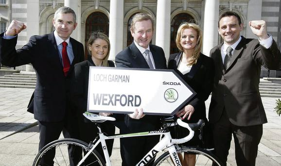 John Feerick, Managing Director, INM Regionals West; Ciara Walsh, SKODA Ireland; An Taoiseach Enda Kenny; Lorraine McDonnell, INM Regionals; and Ray Leddy, SKODA Ireland, launching the Dragon Sportive, which takes place in Enniscorthy on June 29.
