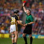 James Owens flashes a red card at Kilkenny's Richie Hogan. Photo: Sportsfile