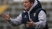 Davy Fitzgerald urging on the Wexford team during Sunday's Allianz League defeat at home to Clare