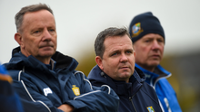 Davy Fitzgerald on the sideline last November with his fellow members of the Sixmilebridge backroom team. With a direct involvement in both club and county, he feels it's more logical and manageable for the county scene to return before the clubs