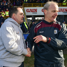 Davy Fitzgerald with rival Galway manager Micheál Donoghue after Saturday's league quarter-final in Innovate Wexford Park