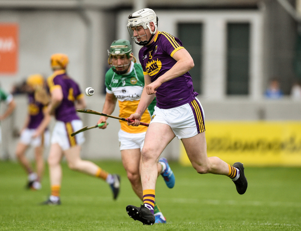 Full-back Liam Ryan strides out of defence during the one-sided win against Offaly in Tullamore on Saturday