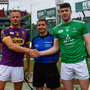 Rival captains Matthew O'Hanlon and Declan Hannon with referee Colm Lyons when the sides last met at the Fenway Classic in Boston in November