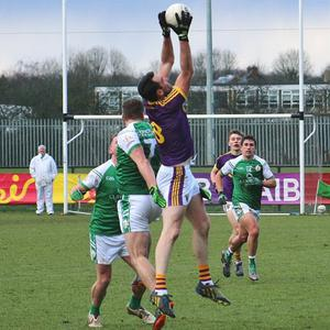 Wexford midfielder Daithí Waters catches a high ball during the Allianz Football League Division 4 match against London in Ruislip