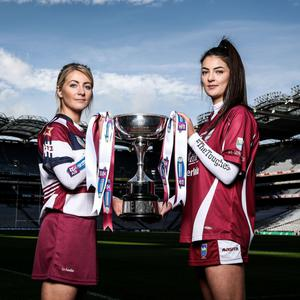 Katie O'Connor (right), the St. Martin's captain, in Croke Park with Slaughtneil's Gráinne O'Kane