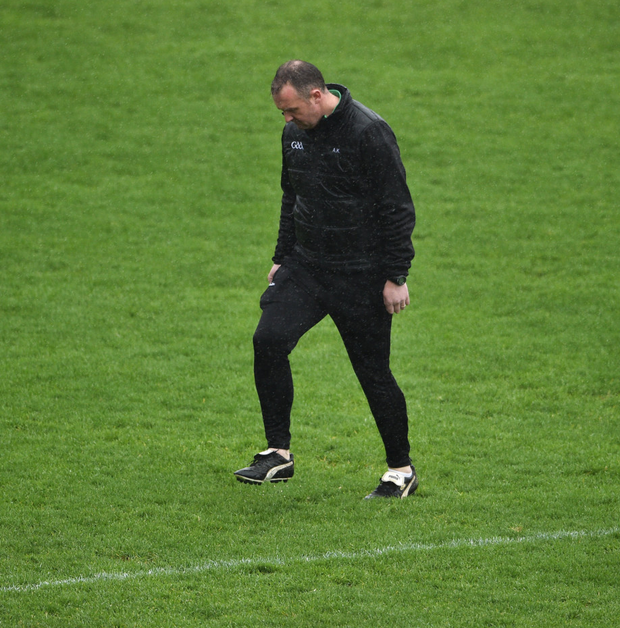 Referee Alan Kelly inspecting the rain-sodden Innovate Wexford Park pitch on Sunday