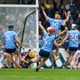 Dublin forward Eamon 'Trollier' Dillon (15) leads their celebrations after the last-gasp equalising goal in Parnell Park on Sunday