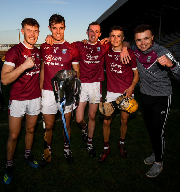 Joe, Jack, Patrick, Harry and the suspended Rory O'Connor celebrate after Sunday's Pettitt's SHC final victory